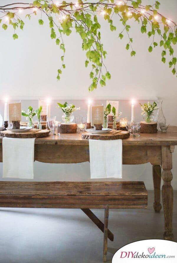 25+ DIY Deko Ideen zu Ostern, blühender Ast mit Lichterketten Dekoration im Esszimmer