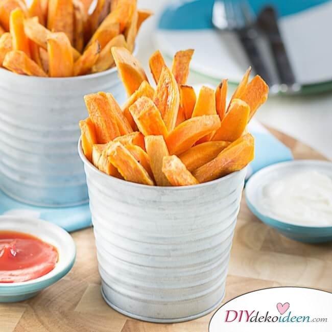 vegane Hot Dogs mit Süßkartoffel-Fries - Lieblingsgerichte