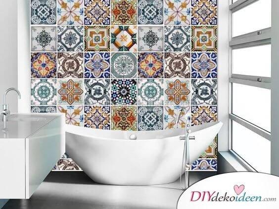Fliesen-Deko Ideen: orientalisches Badezimmer mit moderner Einrichtung,moderne Badewanne-Design