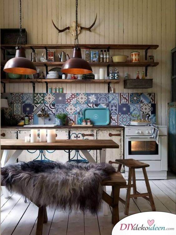 Fliesen-Deko Ideen: extravagante Küche mit marokkanischen Fliesen: bunte Muster