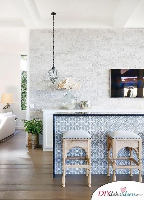 Fliesen-Deko Ideen: schöne Einbauküche, blau-weiß marokkanischen Fliesen, Küche Einrichtungsideen