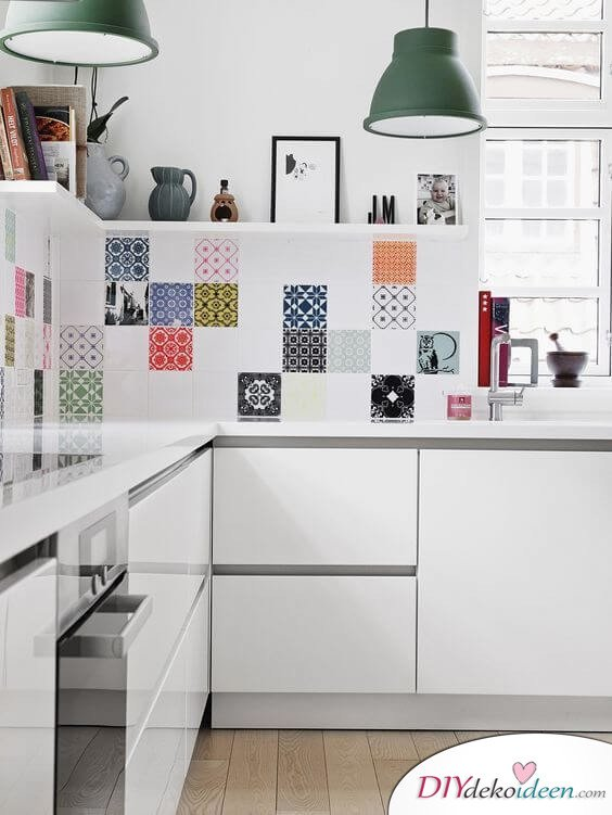 Fliesen-Deko Ideen: schöne Einbauküche, bunte marokkanischen Fliesen, Küche Einrichtungsideen