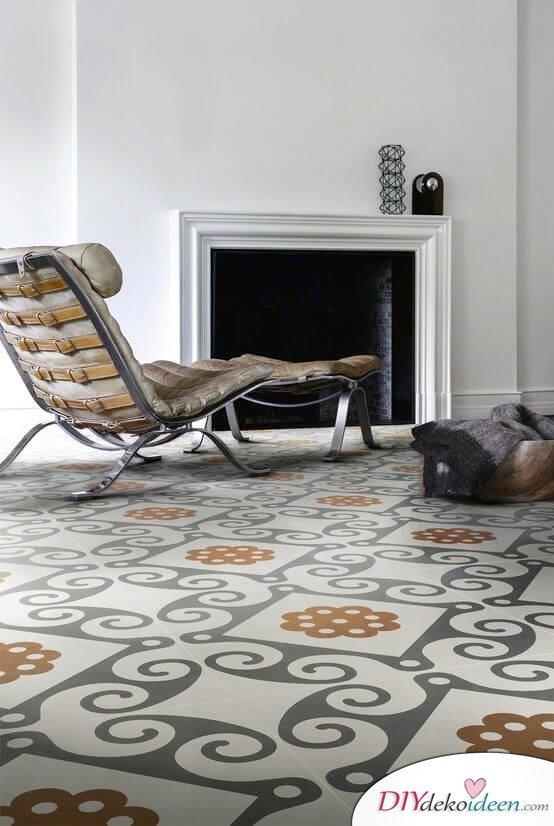 Fliesen-Deko Ideen: marokkanische Interieur Ideen, Wohnzimmer mit marokkanischen Fliesen