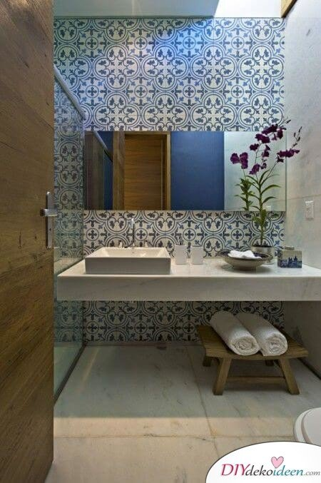 Fliesen-Deko Ideen: modernes Badezimmer Einrichtungsideen mit marokkanischen Fliesen