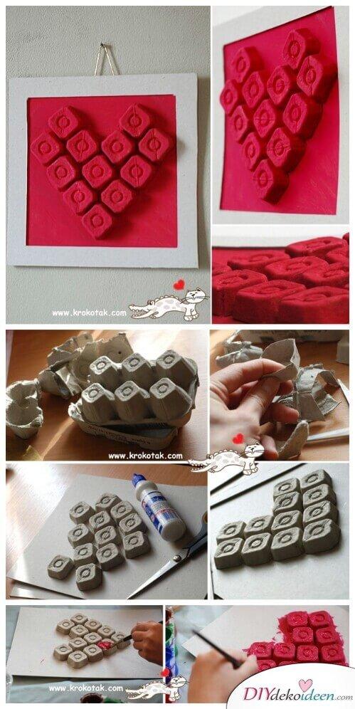 DIY Bastelideen mit Eierkartons - Herzbild