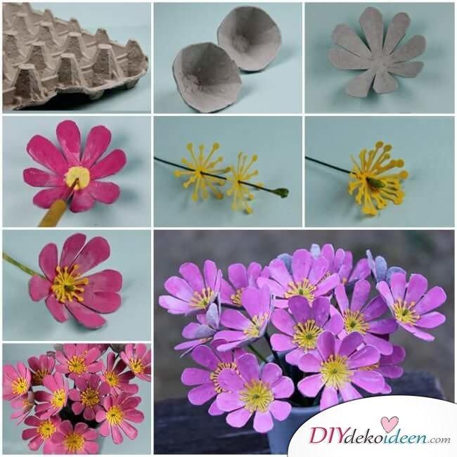 DIY Bastelideen mit Eierkartons - Blumenstrauß