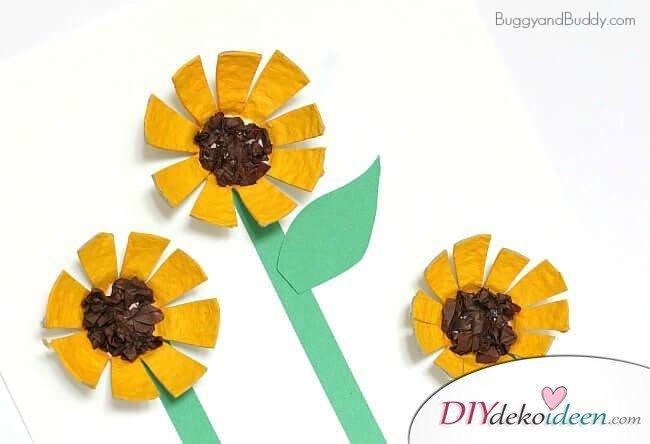 DIY Bastelideen mit Eierkartons - Sonnenblumen