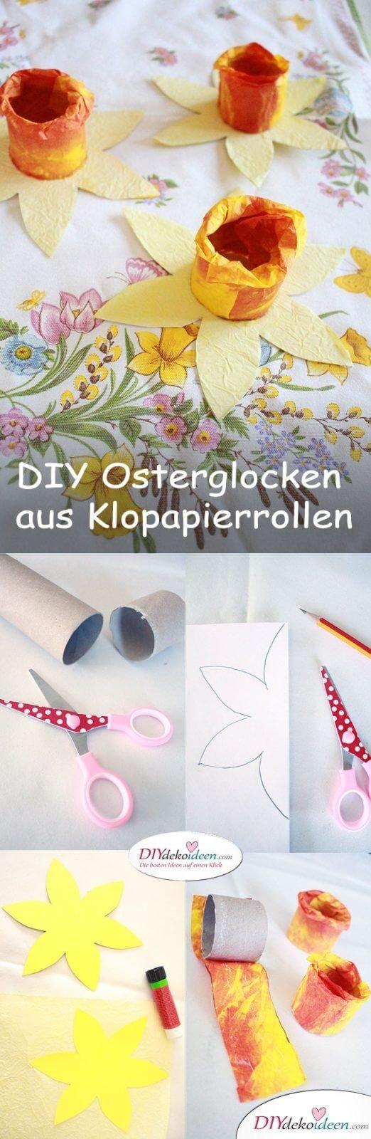 DIY Ideen – Osterglocken basteln mit Klopapierrollen und Knitterpapier