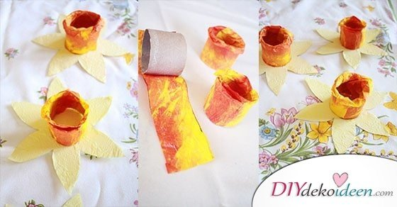 diy ideen osterglocken basteln mit klopapierrollen und knitterpapier. Black Bedroom Furniture Sets. Home Design Ideas