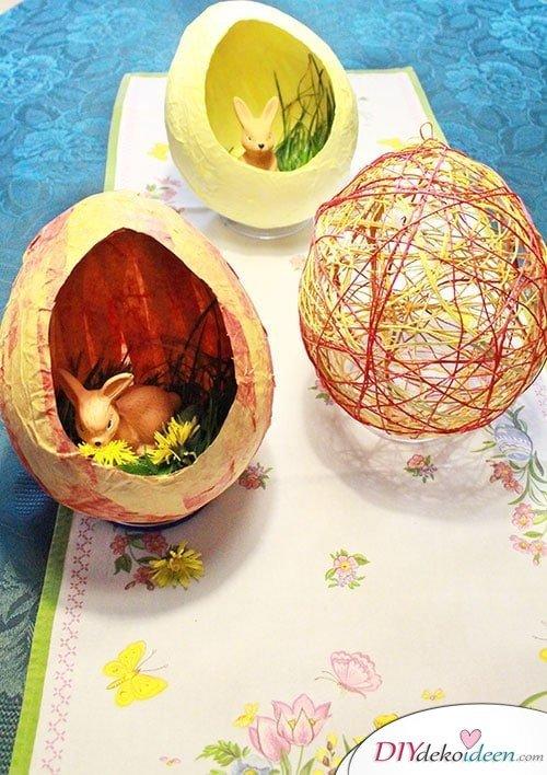 DIY Ostereier aus Knitterpapier und Naturschnur