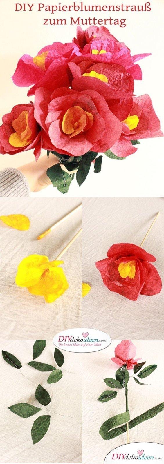 Geschenke zum Muttertag selber machen - DIY Papierblumenstrrauß