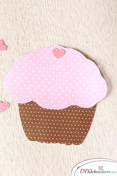 DIY Muffin Einladungskarten für Mädchen basteln