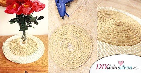 DIY Dekoidee Telleruntersetzer mit Stil – Platzdeckchen selber machen aus Seil