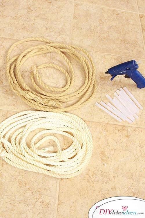Elegante Platzdeckchen aus Seil basteln - DIY Telleruntersetzer