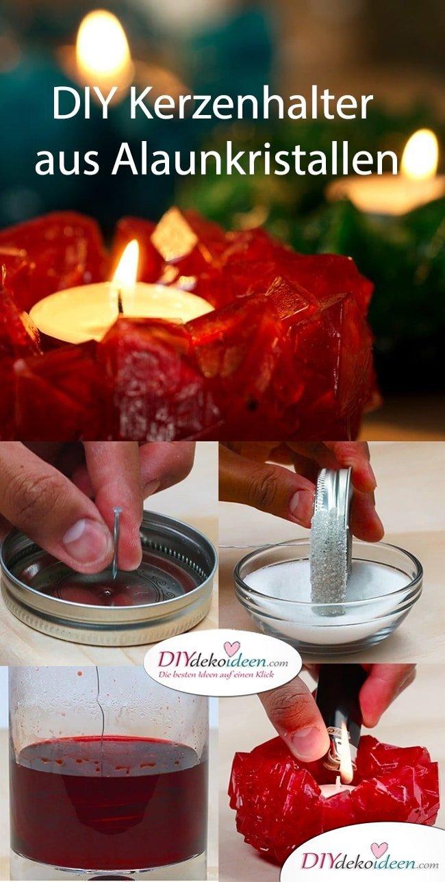DIY Alaunkristalle - Diese eleganten Kerzenhalter aus Kristallen bringen Licht und Wärme in jedes Heim