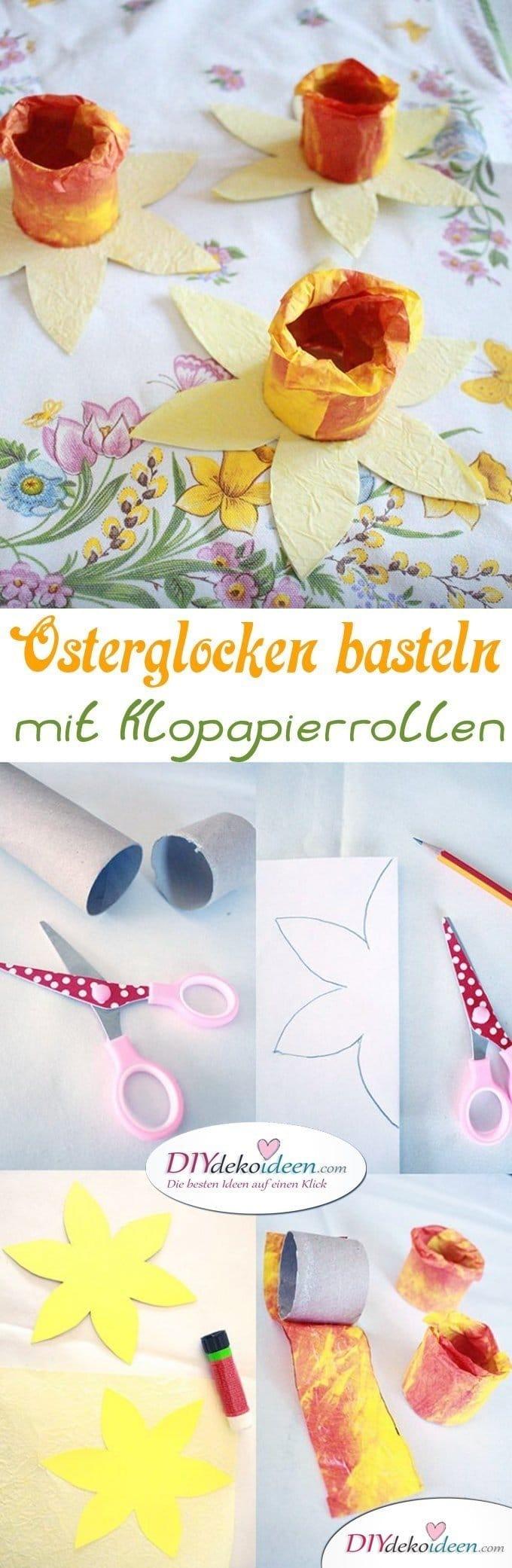 Diy Ideen Osterglocken Basteln Mit Klopapierrollen Und Knitterpapier