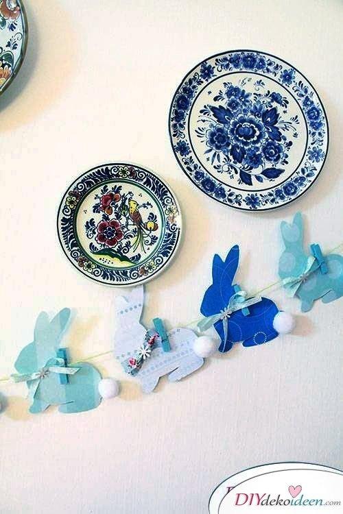 Wohnung dekorieren mit selbst gebastelter Oster-Deko