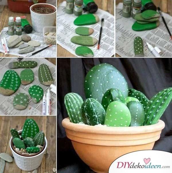 DIY Kaktussteine – Gartendeko selber machen