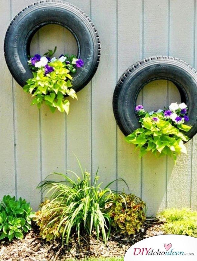 Dekorieren mit Reifen – Gartendeko selber machen