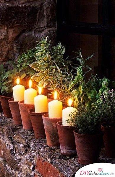 DIY Garten Dekoideen - Kerzenhalter aus Tontöpfen
