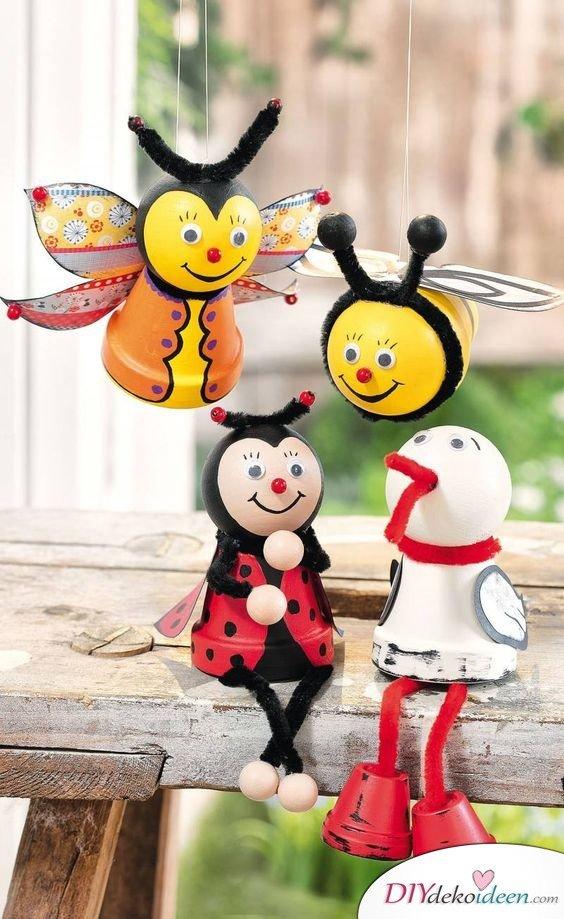 DIY Garten Dekoideen - Figuren aus Tontöpfena