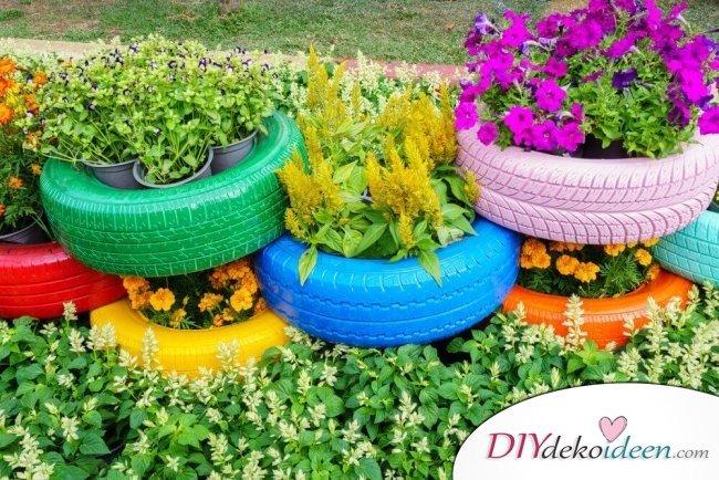 DIY Gartendeko selber machen – Reifendeko
