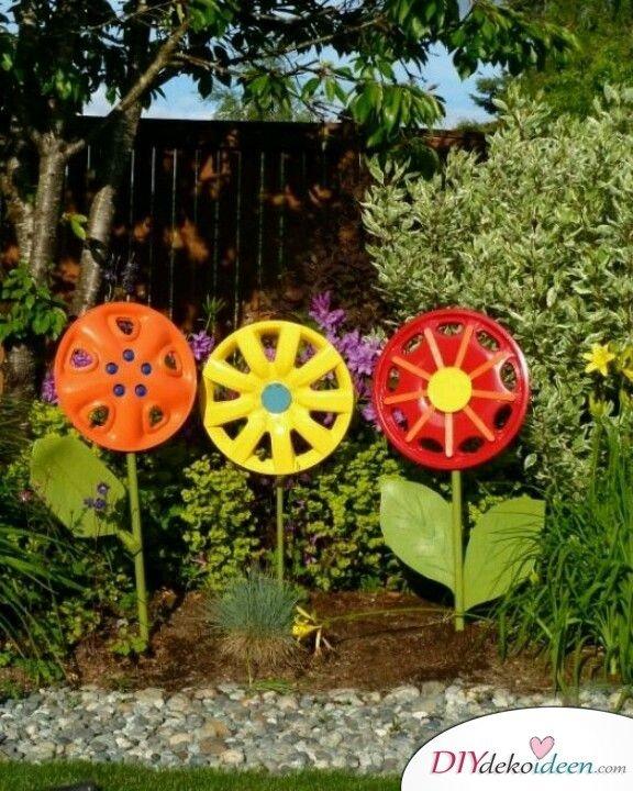DIY Gartendeko selber machen – Reifenkappenblumen
