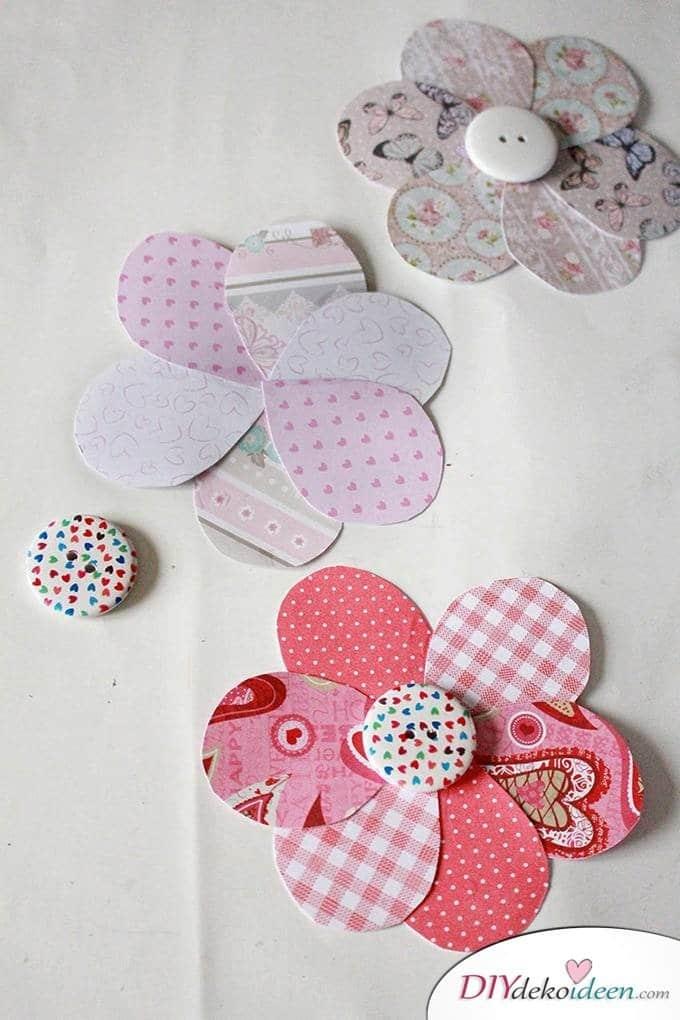 DIY Muttertagsgeschenk - Blumen basteln mit Papier