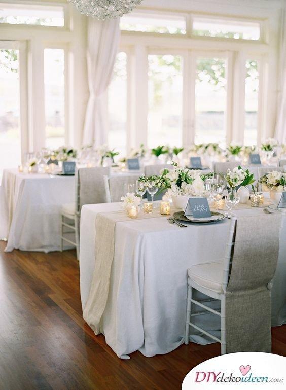 Hochzeitstischdeko Ideen - Hochzeit in Weiß
