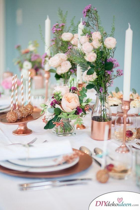 Hochzeitstischdeko Ideen - Blumenschmuck