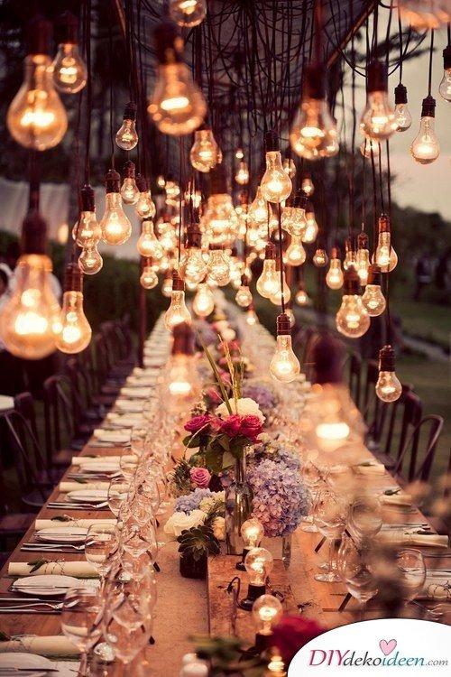 Hochzeitstischdeko Ideen - Elegante Beleuchtung