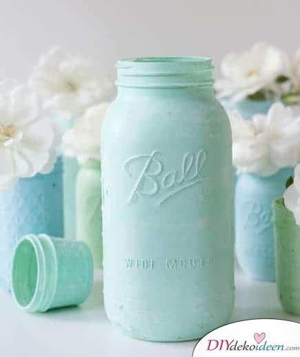 DIY Hochzeitsdekoration Bastelideen - Einmachglas als Vase