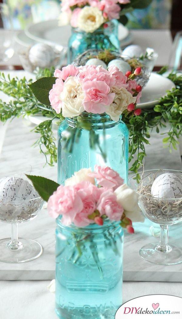 DIY Hochzeitsdekoration Bastelideen - Einmachglasvasen