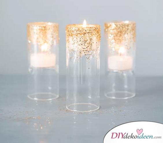 DIY Hochzeitsdekoration Bastelideen - Glitzer-Kerzenständer