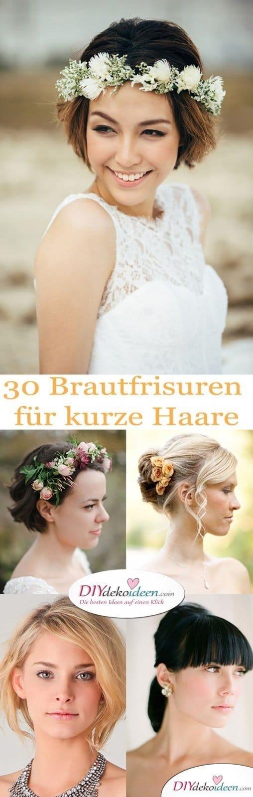 Die besten DIY Brautfrisuren für kurze Haare. Elegant, frech und