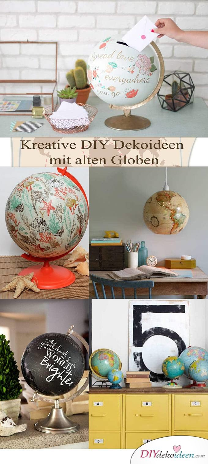 DIY Dekoideen mit Globen - Deko selber machen