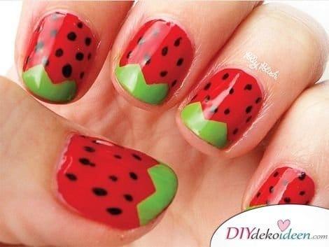 DIY Nageldesign Ideen - Sommernägel - Wassermelonennägel