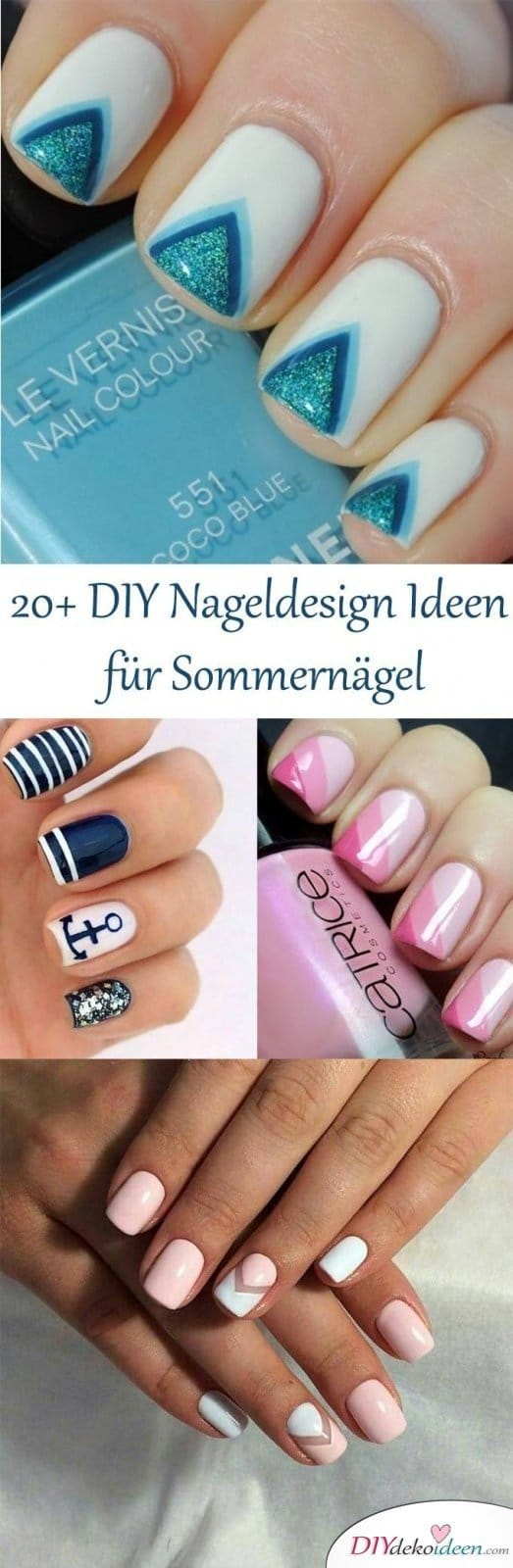 20 DIY Nageldesign Ideen Sommernägel - Trends 2017