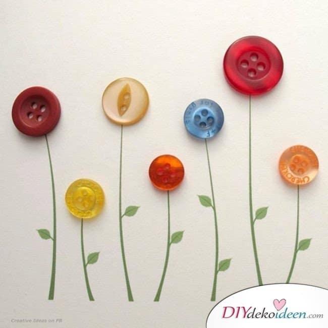 Kinderparty DIY Bastelideen - Knopfblumen