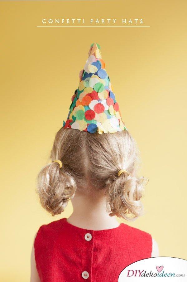 DIY Bastelideen für Kinderpartys - Partyhut mit Konfetti