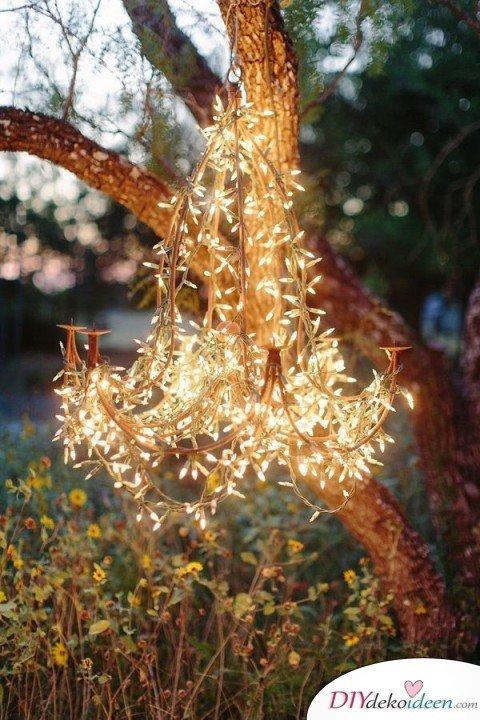 DIY Garten Hochzeit Deko - Lichterketten