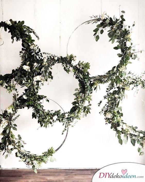 DIY Hochzeitsfoto Hintergrund - dekorieren mit Pflanzen