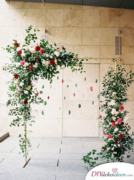 DIY Hochzeitsfoto Hintergrund - Blumendeko für Hochzeit
