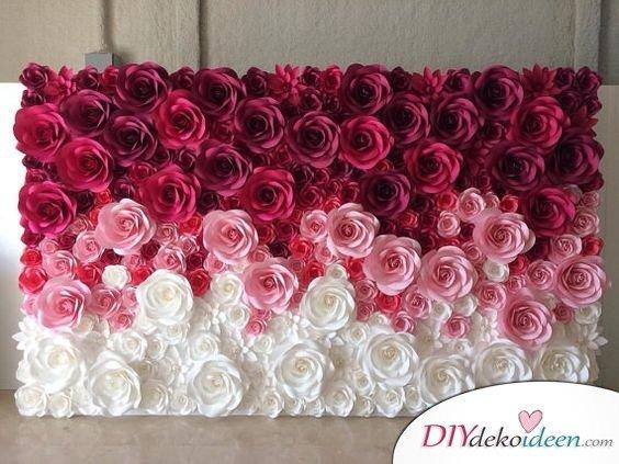 DIY Hochzeitsfoto Hintergrund - Papierblumen