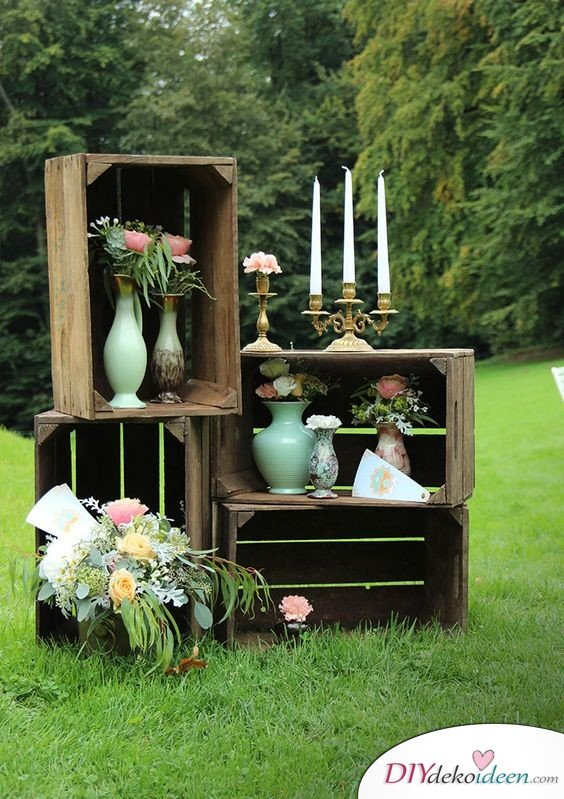Hochzeitsfoto Hintergrund aus Holzkisten