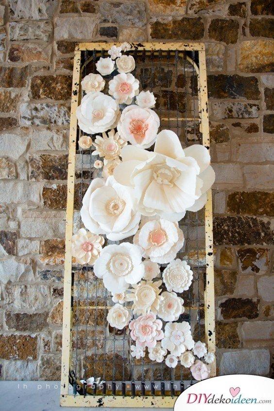 DIY Hochzeitsfoto Hintergrund - Papierblumen basteln