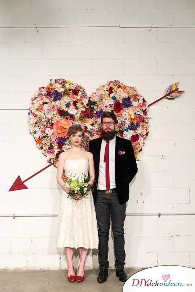 DIY Hochzeitsfoto Hintergrund - Blumenschmuck