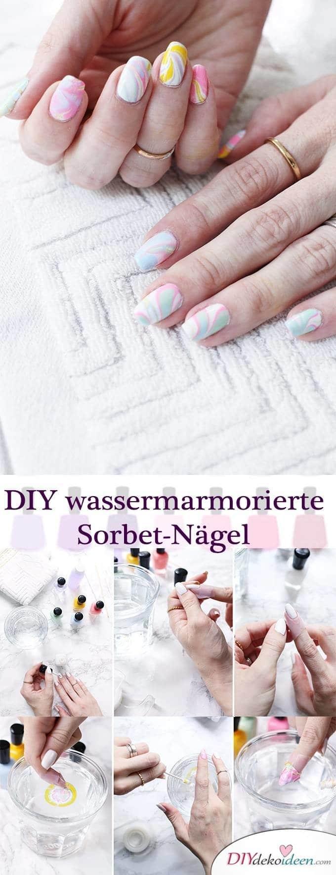 DIY Nailart wassermarmorierte Sorbet-Nägel - Watermarble - Sommernägel
