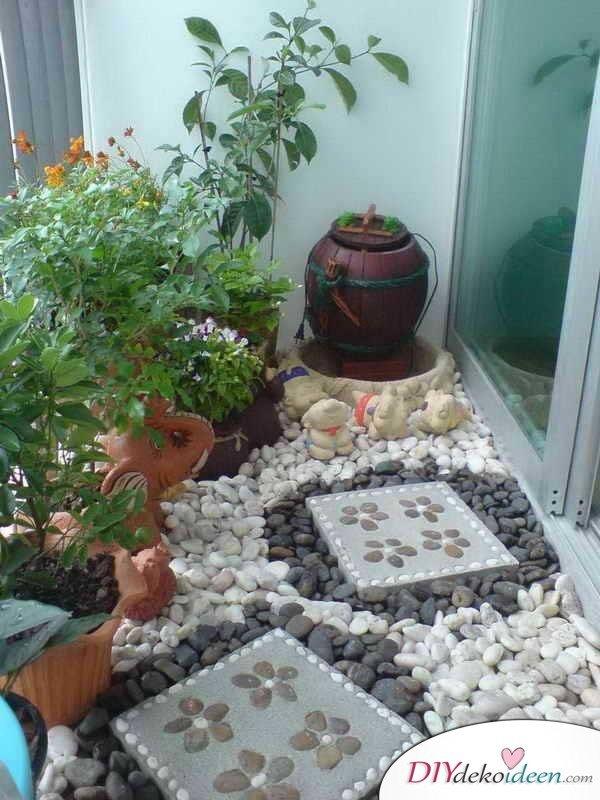 Balkon gestalten - DIY Dekoideen - Minigarten