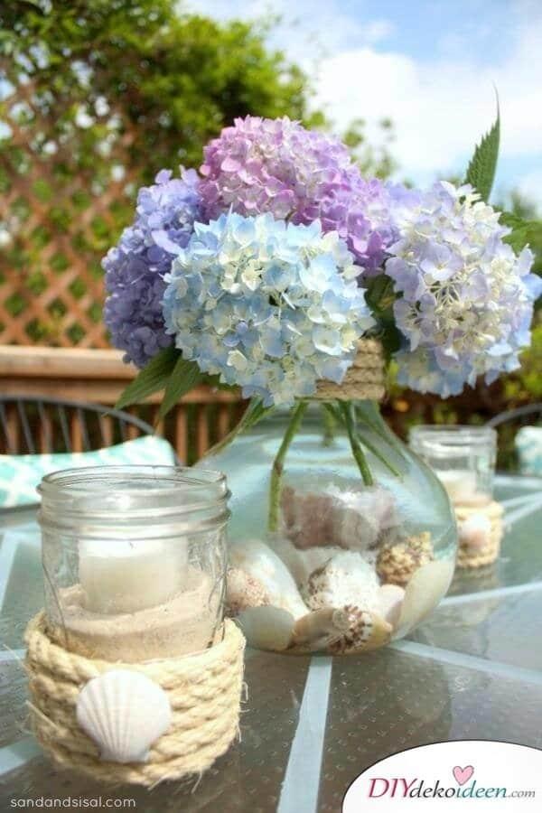 DIY Sommertischdeko - Blumendeko Ideen